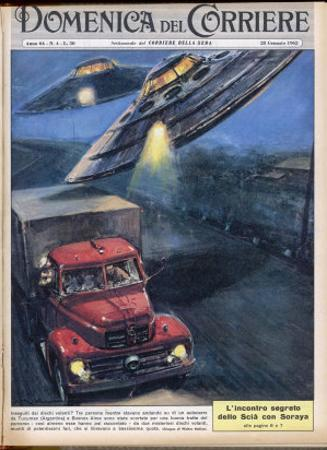 Two Domed Discs UFOs with Powerful Light-Beams by Walter Molini