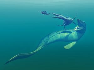 Cretaceous Marine Predators, Artwork by Walter Myers