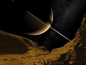 Saturn's Moon Enceladus, Artwork by Walter Myers