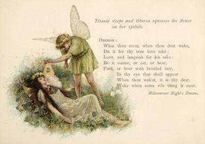 A Midsummer Night's Dream, Act II Scene II: Oberon Squeezes the Flower onto Titania's Eyelids by Walter Paget