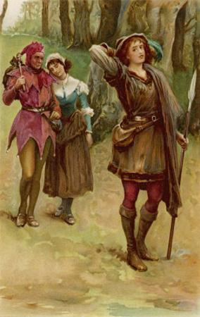 As You Like It, Rosalind with Touchstone and Audrey in the Forest of Arden by Walter Paget