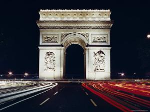 Arc De Triomphe at Night, Paris, France, Europe by Walter Rawlings
