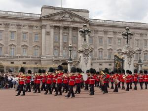 Band of Scots Guards Lead Procession from Buckingham Palace, Changing Guard, London, England by Walter Rawlings