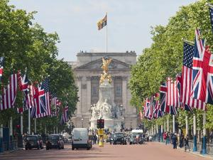 Flags Lining Mall to Buckingham Palace for President Obama's State Visit in 2011, London, England by Walter Rawlings