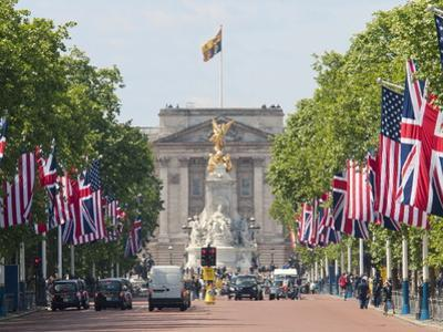 Flags Lining Mall to Buckingham Palace for President Obama's State Visit in 2011, London, England