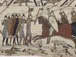 King Harold's Foot Soldieres with Spears and Battle Axes, Bayeux Tapestry, Normandy, France by Walter Rawlings