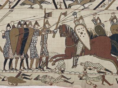 King Harold's Foot Soldieres with Spears and Battle Axes, Bayeux Tapestry, Normandy, France