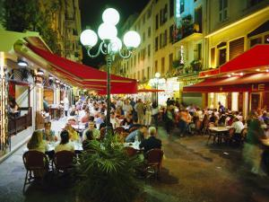 Open Air Cafes and Restaurants, Nice, Cote d'Azure, Provence, France, Europe by Walter Rawlings