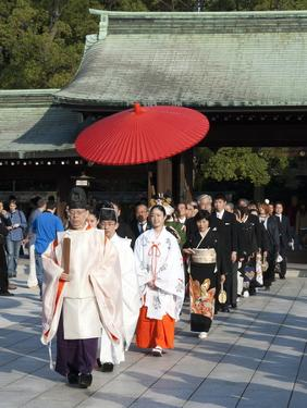 Shinto Wedding Procession at the Meiji Jingu Shrine, Tokyo, Japan, Asia by Walter Rawlings