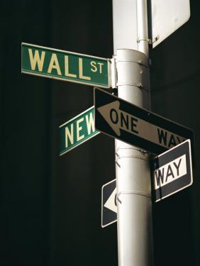 Wall Street Sign, New York City, New York State, USA by Walter Rawlings