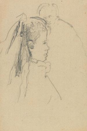 Head and Bust of a Girl in Profile to Right, Head of a Man, Full Front, Behind by Walter Richard Sickert
