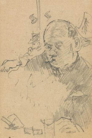 Mustachioed Man Seated, Drinking in a Bar with Two Other Men in Hats by Walter Richard Sickert