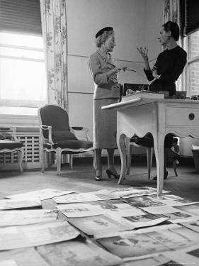 Editor Carmel Snow and Fashion Editor Diana Vreeland Reviewing Layouts in Harper's Bazaar Office by Walter Sanders