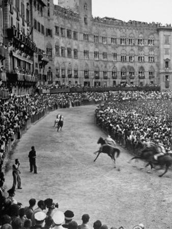 People Watching Horse Race that Is Traditional Part of the Palio Celebration by Walter Sanders