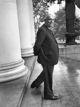 Poet and Vice President of Hartford Accident and Indemnity Co, Wallace Stevens Standing on Steps by Walter Sanders
