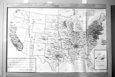 """Us Map """"Fair Play in Politics"""" Displaying Areas with Political Religious Bias, 1960 by Walter Sanders"""