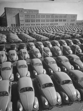 Volkswagen Factory Rolls an Average of 150 Efficient 4 Cylinder Sedans Into Storage Yards Every Day by Walter Sanders