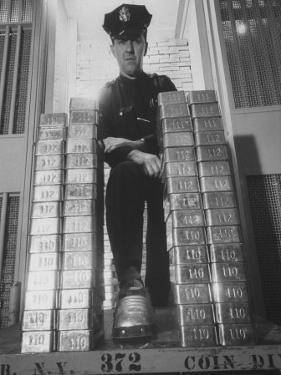 With Gold Bars in Federal Reserve Bank, Guard Wearing Protective Aluminum Overshoes by Walter Sanders