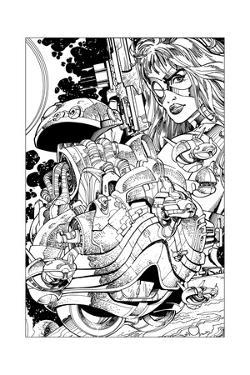 Promotional Drawing of Phaedra for the Malibu Series by Walter Simonson