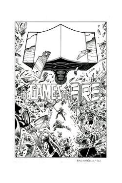 Ragnarok Issue No. 8: The Games of Fire - Inks for Page 1 by Walter Simonson