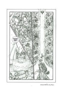 Ragnarok Issue No. 8: The Games of Fire - Pencils for Page 11 by Walter Simonson