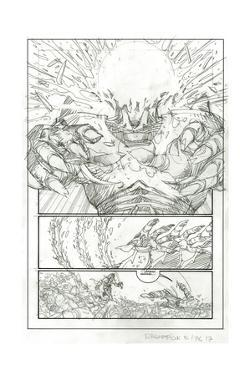 Ragnarok Issue No. 8: The Games of Fire - Pencils for Page 17 by Walter Simonson