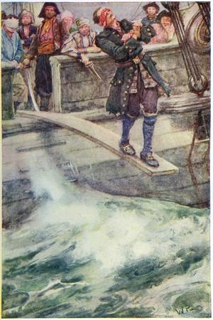 Walking the Plank', Illustration from 'The Master of Ballantrae' by Robert Louis Stevenson