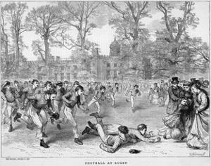 At Rugby School a Crowd of Schoolboys Run after the Ball at Rugby by Walter Thomas