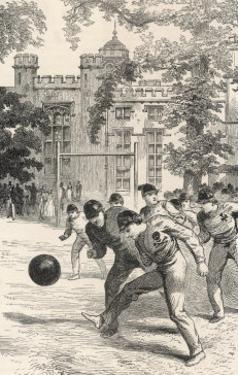 At Rugby School Boys at Rugby School Play Rugby Football in the School Grounds by Walter Thomas