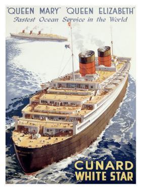 Cunard Line, Queen Elizabeth, Queen Mary by Walter Thomas