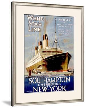 White Star Line, Southampton, Cherbourg, New York by Walter Thomas