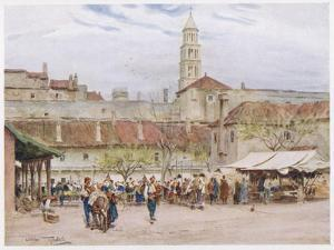 Market Day in Split (Now in Croatia) on the Dalmatian Coast by Walter Tyndale