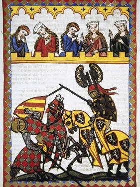 Walter Von Klingen (1240-1286), Defeats Another Knight in a Tournament. Codex Manesse (Ca.1300)