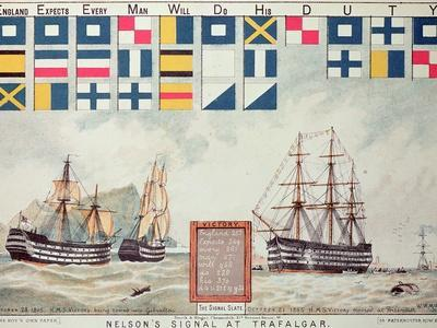Nelson's Signal at Trafalgar, 1805, 'The Boy's Own Paper' Commemorate Hms Victory, Portsmouth, 1885
