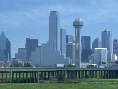 Bridge over the Dallas River Floodplain, and Skyline of the Downtown Area, Dallas, Texas, USA