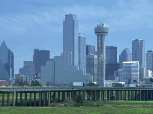 Bridge over the Dallas River Floodplain, and Skyline of the Downtown Area, Dallas, Texas, USA by Waltham Tony