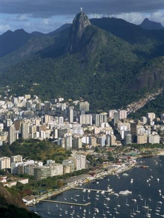 Corcovado Mountain and the Botafogo District of Rio De Janeiro from Sugarloaf Mountain, Brazil