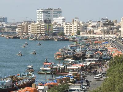 Dhows Moored for Unloading Alongside Deira Wharves, Dubai Creek, Dubai, Uae, Middle East