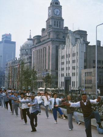 Early Morning Tai Chi in Front of Old Customs House, Shanghai, China