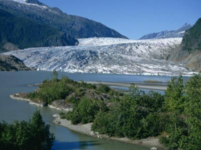 Glacier Flowing from the Juneau Icefield to the Proglacial Lake, Alaska, USA