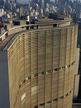 Huge Curved Office Block Facade, Designed by Oscar Niemeyer, Sao Paulo, Brazil, South America by Waltham Tony