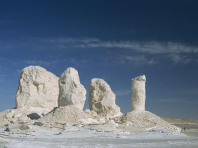 Isolated Chalk Towers, Remnants of Karst, Farafra Oasis, White Desert, Western Desert, Egypt
