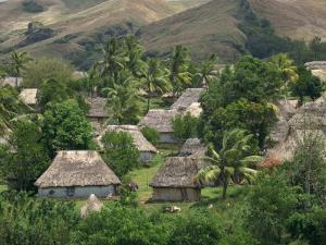 Traditional Bures, Last Old Style Village, Navala, Viti Levu Island, Fiji, Pacific by Waltham Tony