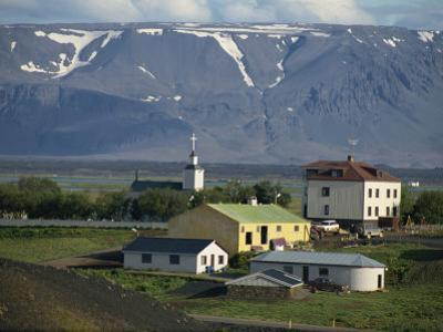 Village and Church South of Lake Myvatn with Hills in the Background, at Skutustadir, Iceland