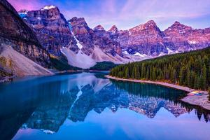 Rosy Clouds before Sunrise at Moraine Lake by Wan Ru Chen