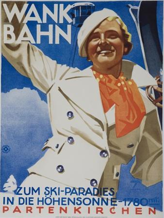 Wank Bahn, German Ski Travel Poster