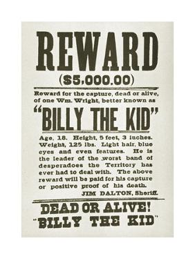Wanted Poster for Billy the Kid Offering $5000 Dollars Reward, 1880s