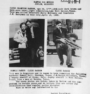 Wanted Poster for Bonnie and Clyde. 1933