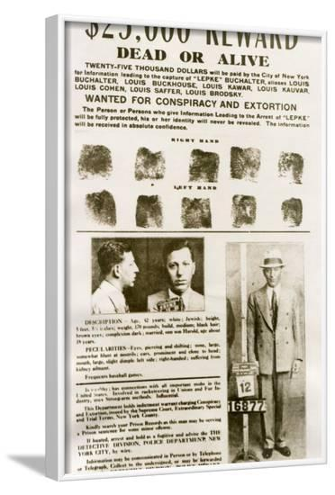 Wanted Poster with Mugshots Louis 'Lepke' Buchalter, Jewish American Gangster--Framed Photo