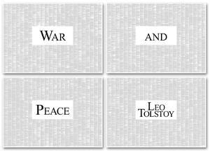 War and Peace By Leo Tolstoy (4 sheet set) Full Book Text Poster